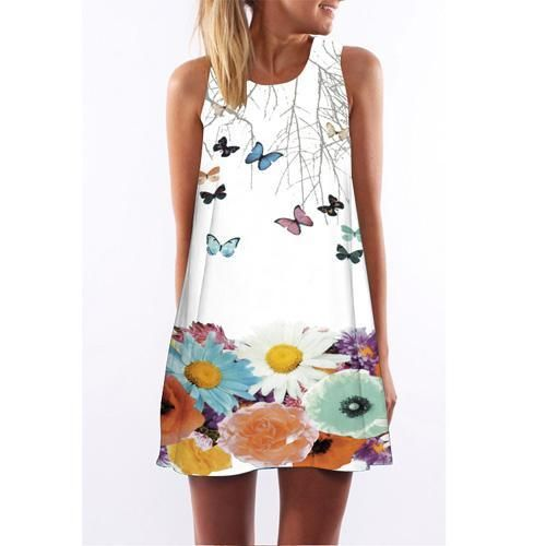 Sleeveless Hearts Print Casual Women Dress Above Knee