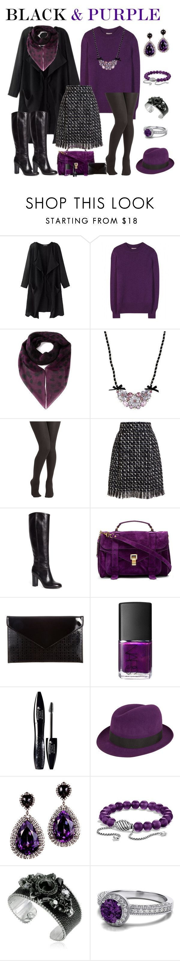 """""""Black/Purple Fall Outfit"""" by rainbowroad96 ❤ liked on Polyvore featuring Bottega Veneta, Alexander McQueen, Betsey Johnson, Lanvin, Brooks Brothers, Proenza Schouler, Atmos&Here, NARS Cosmetics, Lancôme and Christys'"""