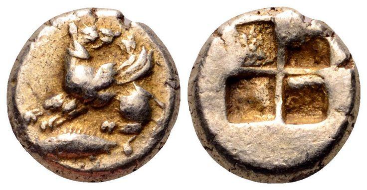 Mysia, Kyzikos EL Hemihekte. Winged dog standing left, head right, on tunny left / Quadripartite incuse square.