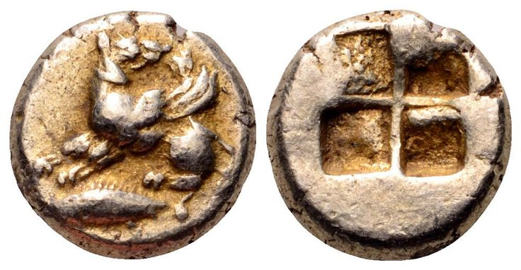 Mysia, Kyzikos EL Hemihekte. Winged dog standing left, head right, on tunny left / Quadripartite incuse square.