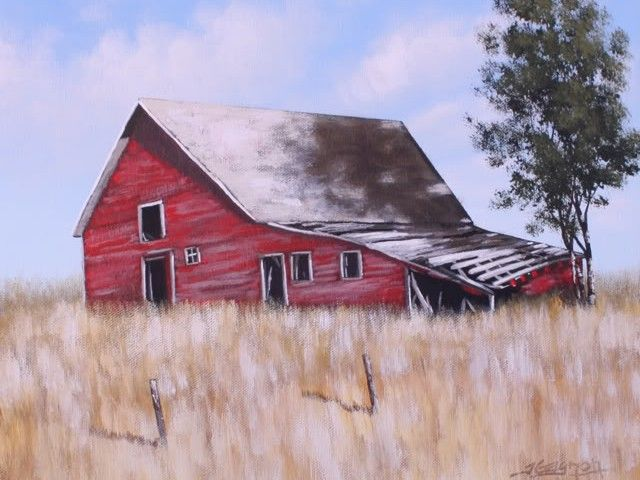 Old Red Barn – Online Painting Lesson - This lesson is about 90 minutes long. I will take you through each detail of this painting, from painting the sky and clouds, to the barn boards and shadows on the roof. I do a lot of close up shots to show how the brush is used to create shapes and highlights. I will also show you what brushes to use, how to mix the colors and apply the paint. Visit Tim Gagnon Studio at http://www.timgagnon.com/lessons/old-red-barn-painting-lesson/