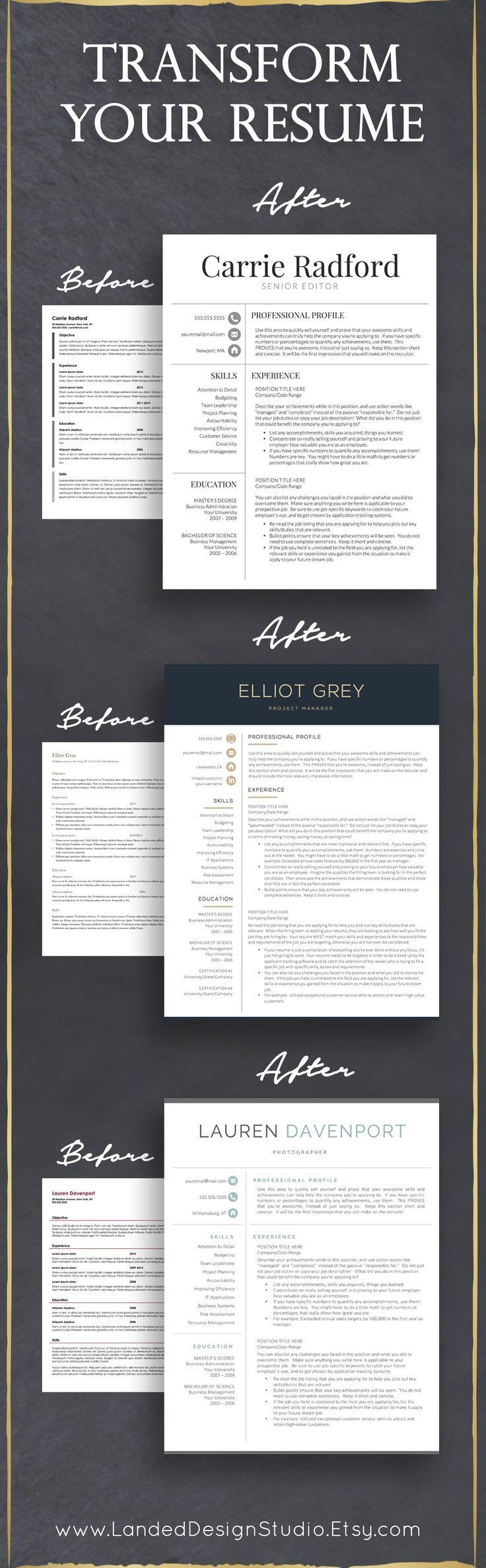 Completely transform your resume with a professional