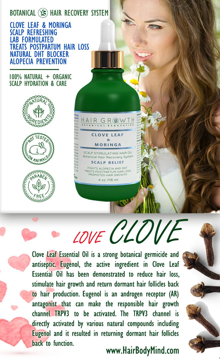 Clove Leaf Essential Oil fights all types of hair loss, postpartum hair loss, alopecia prevention www.HairBodyMind.com