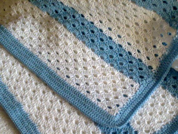 Crochet Baby Blanket PATTERN / Rows White Blue/ by CreazioniFiopi