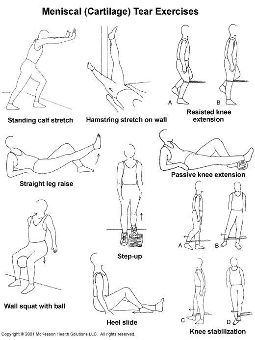 exercise for torn meniscus | ... Advisor 2003.1: Meniscal (Cartilage) Tear Exercises: Illustration