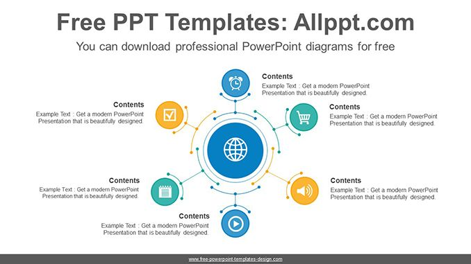 Six radial circles PowerPoint Diagram Template-post image
