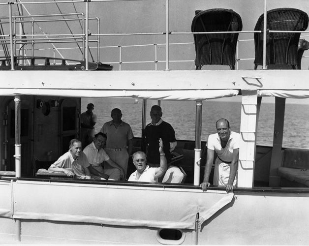 FDR on presidential yacht, Potomac