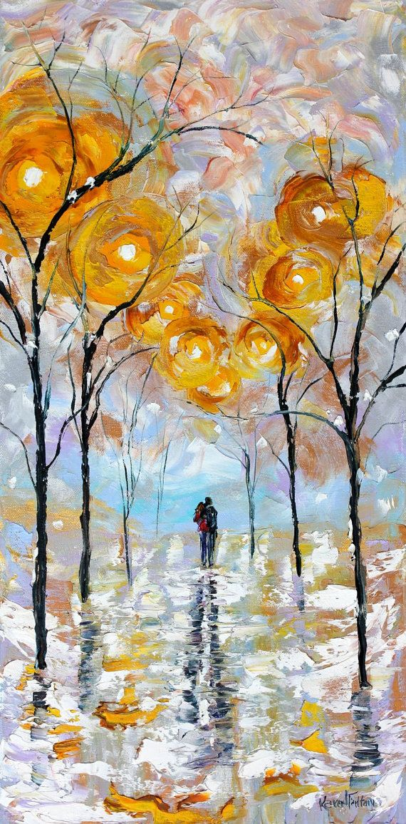Original Oil Winter Romance Landscape palette knife painting ABSTRACT modern texture fine art impressionism by Karen Tarlton