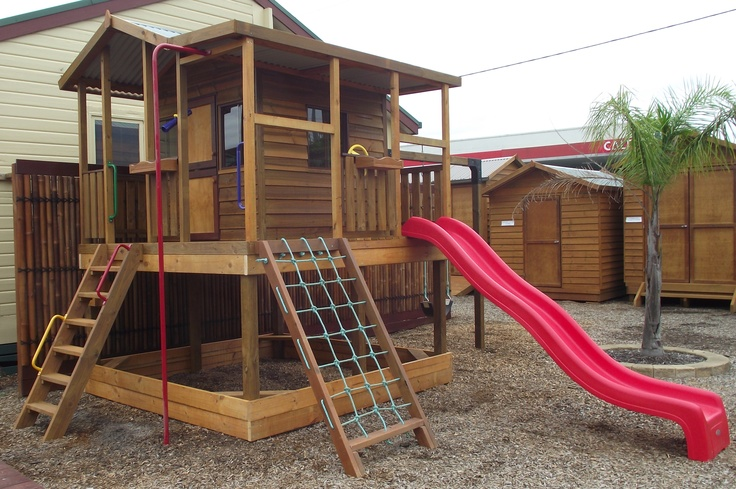 The Ultimate Cubby is just that... Ultimate! This is the kids cubby that every child dreams of having. Fitted with slide, rope frame, fireman's pole and plenty more, your children will play for hours.
