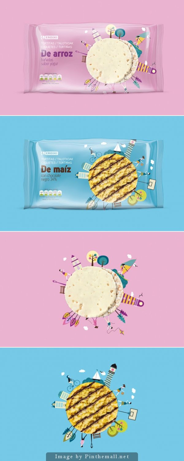 Eroski's Rice And Corn #Snacks #packaging by Supperstudio - http://www.packagingoftheworld.com/2014/11/eroskis-rice-and-corn-snacks.html