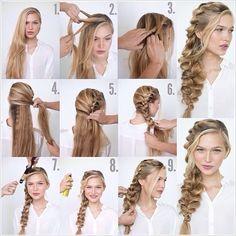 Man ska helt enkelt fläta en inbakad fläta från toppen av huvudet ner längs med framsidan av ens ansikte tills håret tar slut, och då fortsätter man med en vanl