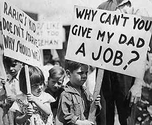 The Great Depression 1929-1940. Many People lost their jobs during the Great Depression. This caused many people that couldn't support their families and themselves. Hundreds died of starvation because of a crash that happened with the stock market. Young children protested with their families as seen in the picture. The Great Depression was a major event that took place in the 1930's.