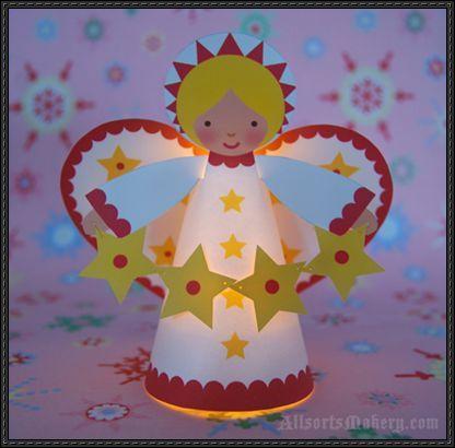 christmas angel craft | Starry Christmas Angel Free Papercraft Download | PaperCraftSquare.com