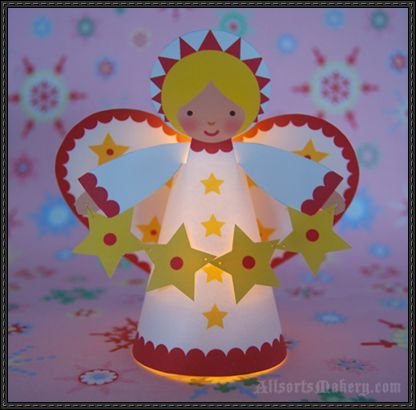 christmas angel craft | Starry Christmas Angel Free Papercraft Download | PaperCraftSquare.com