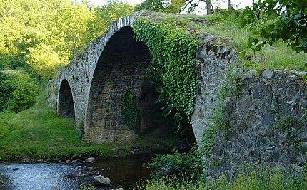 """Pont du Diable, ou Pont de Vérines"""", il était aussi appelé au XIVe siècle """"Pont Peyrard"""".  Saint-Marcellin-en-Forez . Rhône-Alpes"""