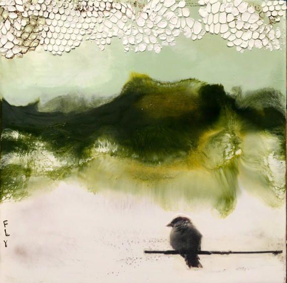Original encaustic painting Perched
