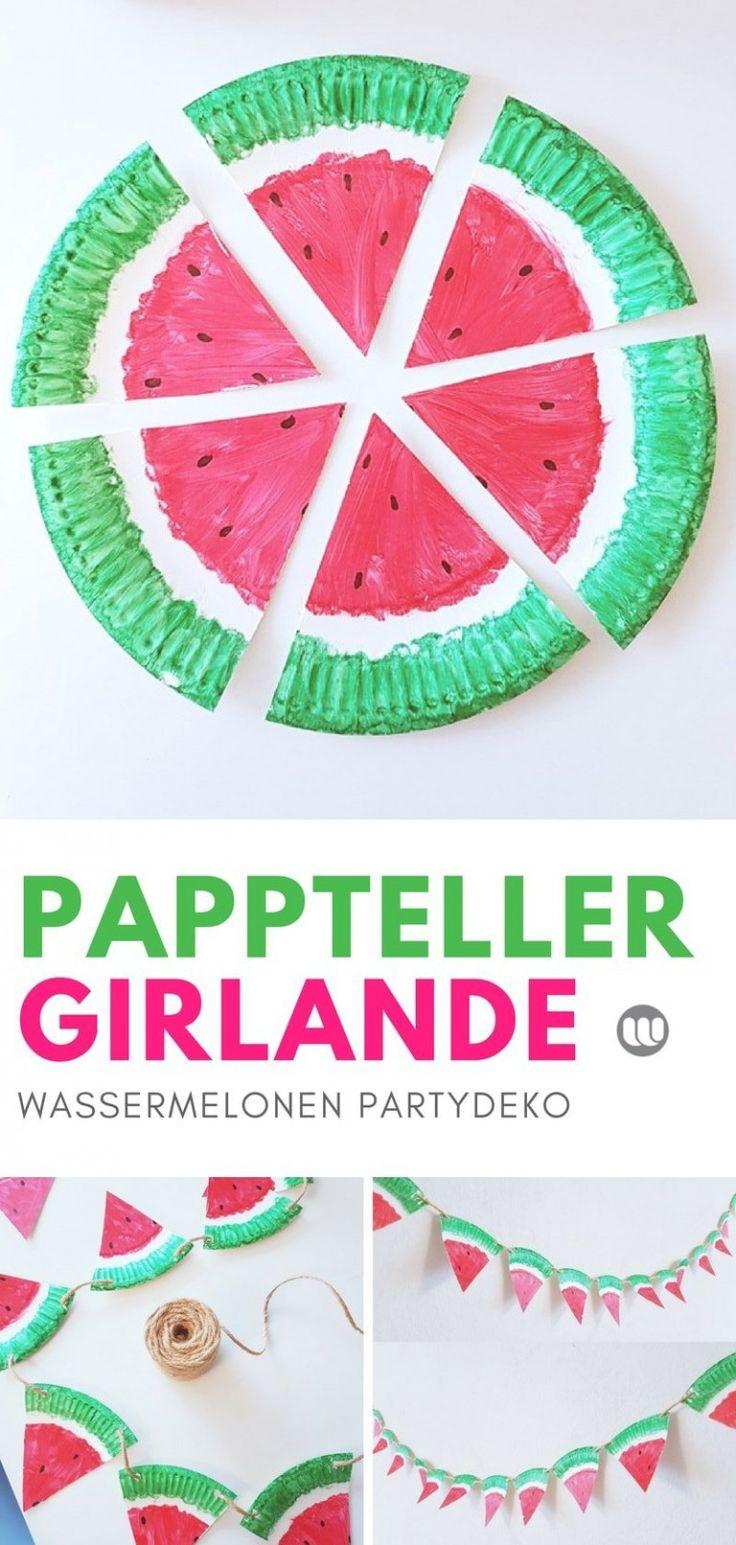 Pappteller Bastelidee: Fruchtige Melonen Girlande für den Sommer