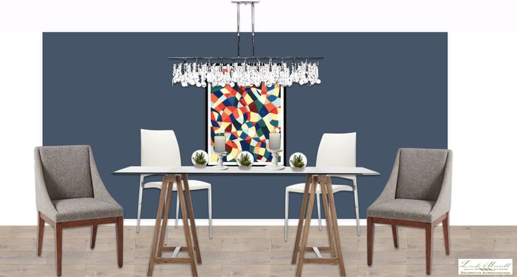 A fresh modern dining room for a virtual design client. Design and rendering by Linda Merrill. #virtual #design #edecor #edesign #dining #room #modern #blue #newburyport #blue #chandelier #glass #chrome