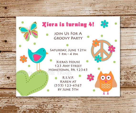 Hippie Chick Birthday Party Invitation Peace by CelebrateLilThings, $18.00