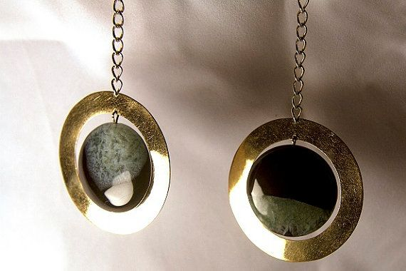 Black & Green Agate Statement Earrings.