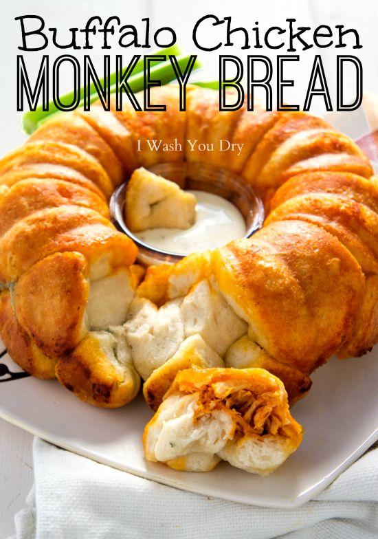 Buffalo Chicken Monkey Bread - I Wash You Dry