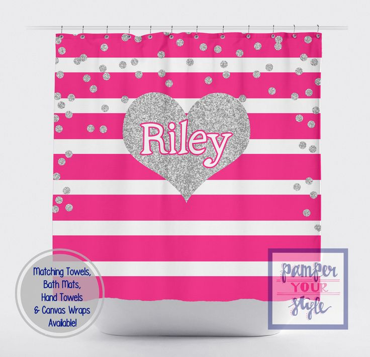 Hot Pink Stripe And Silver Printed Glitter Heart Shower