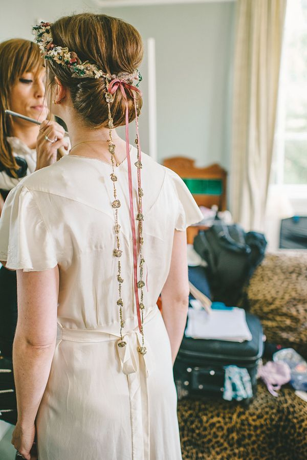Tipis, A Pretty Trailing Floral Headpiece And Vintage Gown ~ The Charming Outdoor Humanist Wedding of Katie and Tim