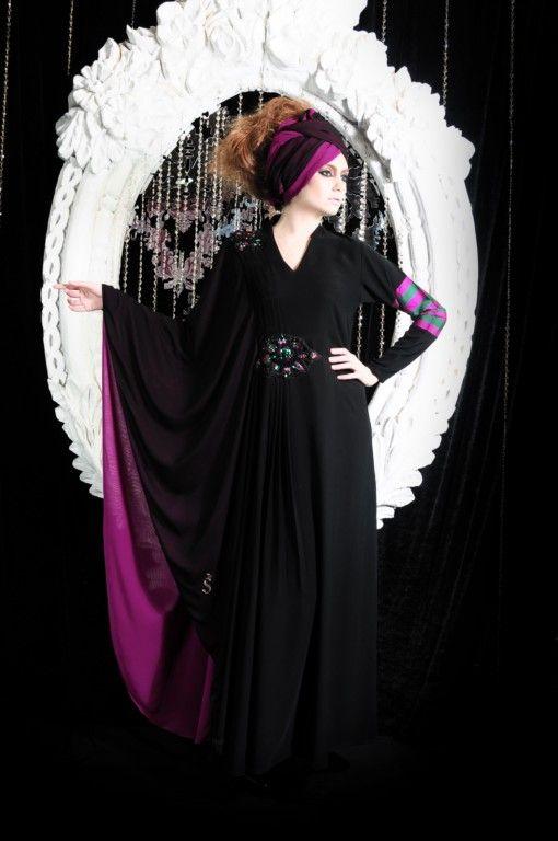 Amazing Black and Purple Abaya
