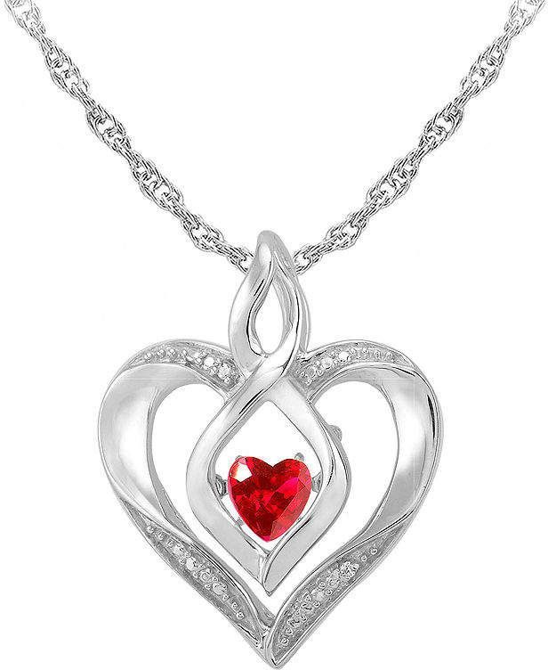 5551e7b45 JCPenney FINE JEWELRY Love in Motion Lab-Created Ruby & Diamond-Accent  Sterling Silver Heart Pendant Necklace