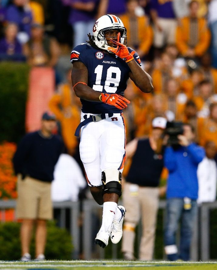 Auburn Sammie Coates #18 of the Auburn Tigers reacts after pulling in a reception for a touchdown against the LSU Tigers at Jordan Hare Stadium on October 4, 2014 in Auburn, Alabama. (Photo by Kevin C. Cox/Getty Images)