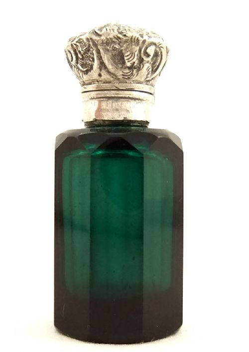 "Green glass scent bottle with silver top 2"" c 1880"