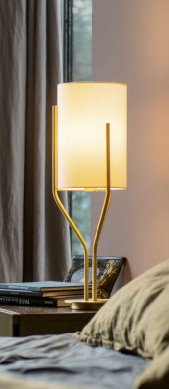 Lampe A Poser Arborescence S Blanc Et Laiton O20cm H65cm Cvl