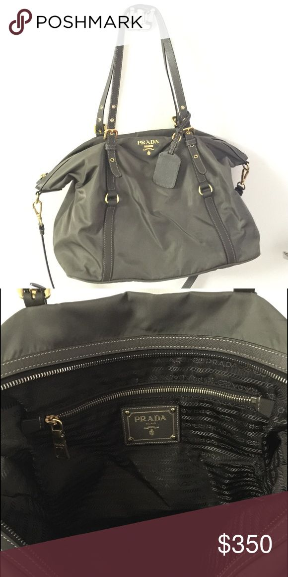 Prada tote with crossbow strap Prada outlet style brought in Florence Italy. Grey nylon with gold hardware and saffaino leather straps. Prada Bags Shoulder Bags