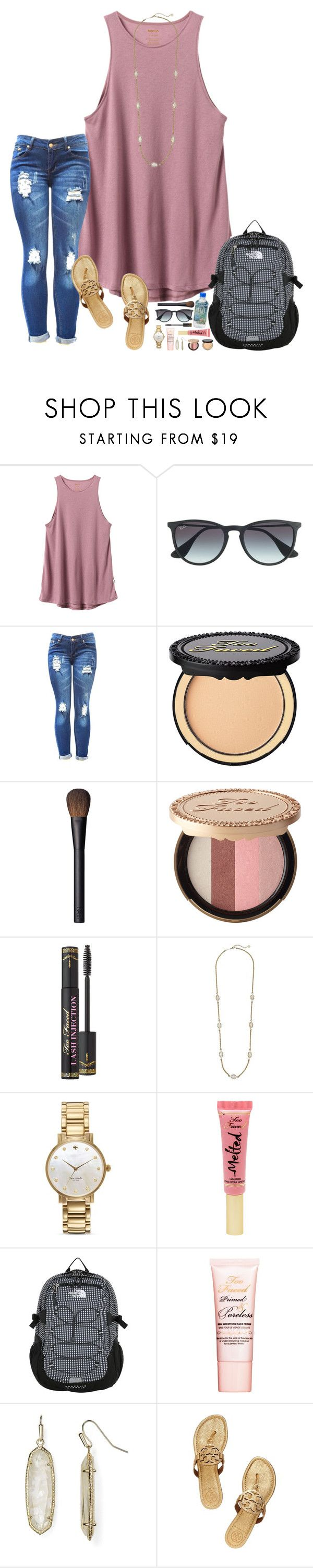 Tomorrow is Friday!! by hopemarlee ❤ liked on Polyvore featuring RVCA, Ray-Ban, Too Faced Cosmetics, NARS Cosmetics, Kendra Scott, Kate Spade, The North Face, Tory Burch and hmsloves