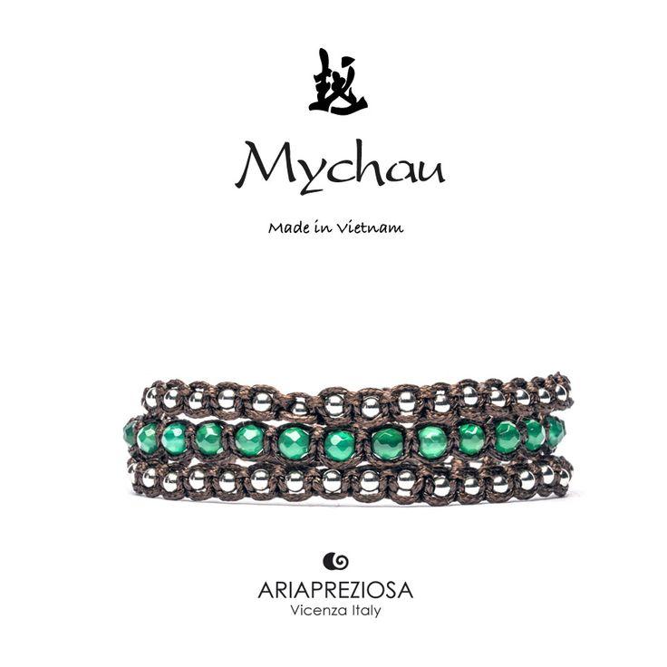 Mychau 2+1 - Bracciale Vietnam originale realizzato con pietre naturali Agata Verde