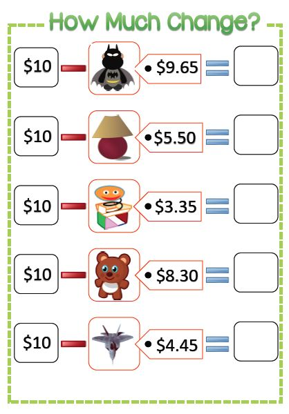 How much change: Toys (Subtraction from $10) --- This ...