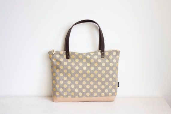 Gold polka dot tote bag Linen and leather tote bag by MUNIshop, $69.00