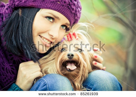 stock photo : cute girl with small terrier dog