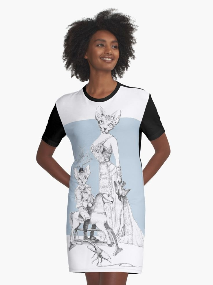 Weird & Wonderful: Bald and Beautiful (sphynx cat family portrait) by VrijFormaat Graphic T-Shirt Dresses on Redbubble