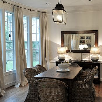Wicker Dining Chairs Transitional Room Cote De Texas