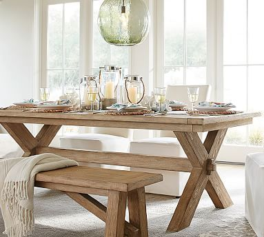 """Toscana Extending Dining Table Set #potterybarn (88.5""""x40"""" extends to 124.5"""") in seadrift or vintage spruce finish, comes with 2 large benches"""