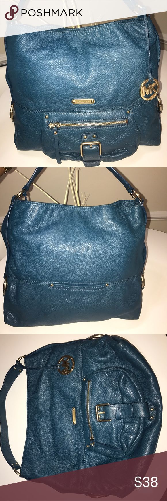 Authentic Michael Kors Pebbled Leather Tote Bag Excellent Used Condition! Teal and gold hardware. Michael Kors Bags Totes