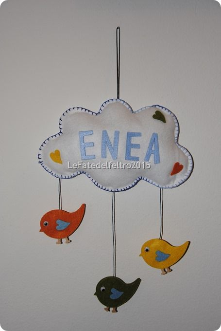 fiocco nascita feltro nuvola felt bird it's a boy