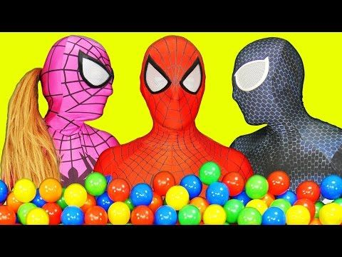 Spiderman Poo Colored Balls with Frozen Elsa vs Joker - Fun Superheroes Movie In Real Life - YouTube