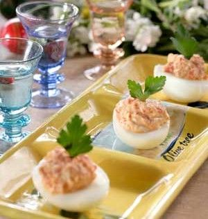 Deviled Eggs with Florina Peppers, Feta, and Yogurt
