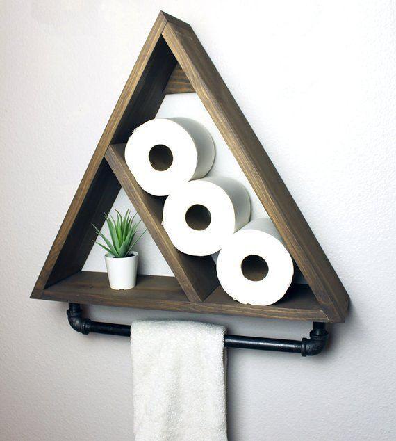 Dreieck-Badezimmer-Regal mit industriellen Bauernhaus Handtuchstange, geometrische rustikale Landlager, modernes Bauernhaus, Apartment Dorm Decor