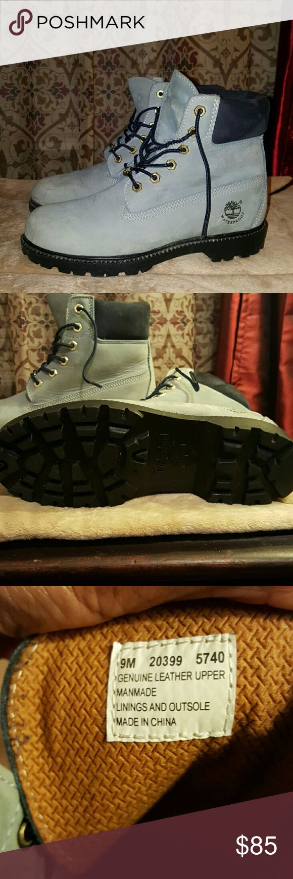 Timberland boots Powder Blue Timberland Boots. Excellent condition, almost brand new,  only worn once. Woman's 9M. Timberland Shoes Lace Up Boots