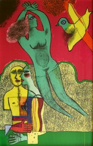 Guillaume Corneille Nu Vert Et L'Oiseau.. Corneille, stage name of Cornelis van Beverloo. He studied in Amsterdam, though in reality, he was considered self-taught. In 1948 he joined the group Cobra. In 1950 he traveled to Paris where he became friends with Karel Appel. He developed a style of expressive abstraction. His work shows the influence of Picasso and Miró.
