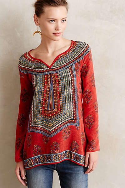 Love this red festive blouse from Anthropologie. Samira Peasant Blouse