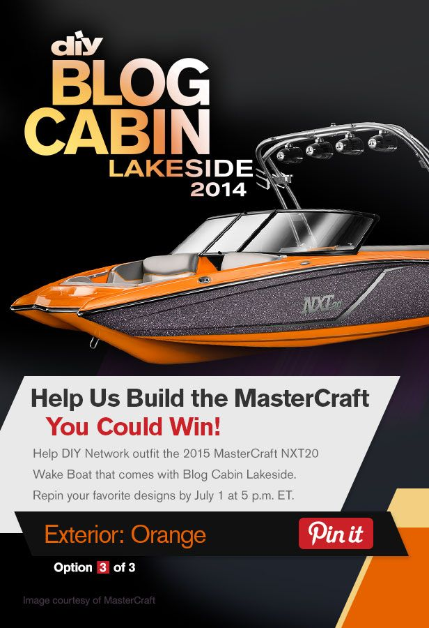 Help DIY Network outfit the boat that comes with Blog Cabin 2014! Repin and like your favorite designs by July 1.: Network Outfit, Diy Blog, Cabin Boats, Favorite Design, Help Diy, Cabin 2014, Blog Boats, Blog Cabin, Diy Network